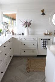 White Kitchen Tile Floor Small Kitchen Remodel Reveal Black Cabinet Wood Planks And Kitchens