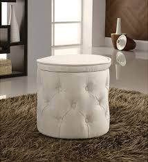 White Storage Ottoman Furniture Tall Round Storage Ottoman Tufted Fabric Beige White
