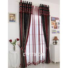 Teal And Red Living Room by Bohemian Half Price Faux Silk Black And Red Striped Curtains