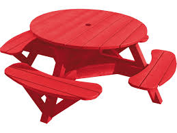 Small Round Tables by Small Round Red Recycled Plastic Picnic Table With Swing Out Bench