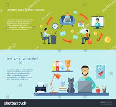 freelancer workspace home remote jobs opportunites stock vector