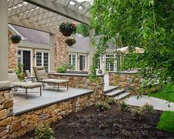 Stone Patio Images by Spanish Influenced Raised Stone Patio Beechwood Landscape