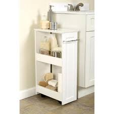 Rolling Bathroom Cart Zenith Products Wood Slimline Rolling Organizer 2 Shelf White