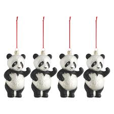 shu set of 4 panda glass tree decorations buy now at