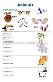 31 free esl animals description worksheets
