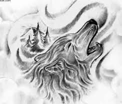 drawn howling wolf graffiti pencil and in color drawn howling