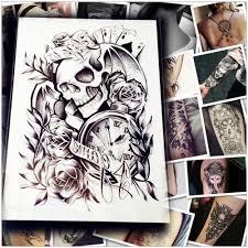 5pc makeup old clock temporary tattoo stickers death skull punk