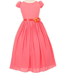 sash ribbon coral flower girl dress in soft cotton