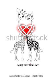 s day giraffe two giraffe postcard valentines day stock vector 360519347