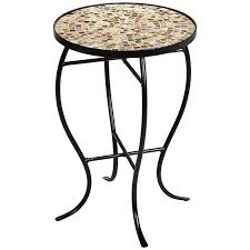 outdoor mosaic accent table mother of pearl mosaic black iron outdoor accent table 6f097