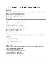 Ucr Resume Builder 100 Resume Strong Verbs English Grammar Powerful Verbs For Your