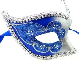 blue masquerade masks blue and silver swan detailed masquerade mask