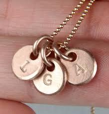 three initial monogram necklace gold monogram necklace three initial sted hammered