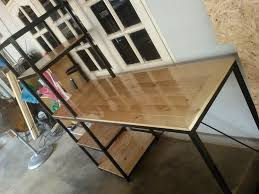 desk with shelves on side wooden pallet desk with side shelf pallet furniture plans