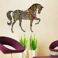 popular horse wall stickers buy cheap lots high quality abstract design decorative wall decal colorful flower pattern horse stickers for kids rooms