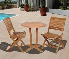 Outdoor Bistro Table Set Furniture Outdoor Bistro Set With Wood Chairs And Wood Round