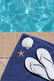 flip flop towel poolside vacation scenic swimming pool summer shell towel