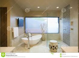 modern bathroom with freestanding bath royalty free stock photo