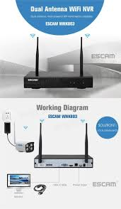 escam wnk803 8ch 720p wireless nvr kit outdoor ir wifi ip camera