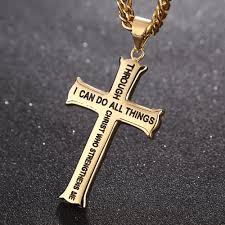 gold silver pendant necklace images Bible verse with curb chain gold silver stainless steel cross jpg
