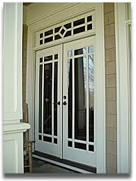 double wood french doors exterior with transom painted with white
