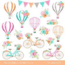 air balloons bicycle clipart floral bicycle wedding
