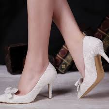 2 inch heel wedding shoes pointed toe pearl shoes bridal wedding shoes ivory color thin high