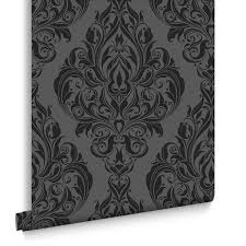 Black And Gold Damask Curtains by Damask Wallpaper Wallpaper Modern Design