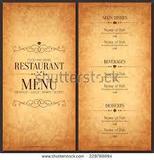 restaurant menu design vector menu brochure stock vector 229789894