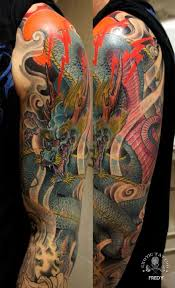colorful traditional dragon tattoo sleeve