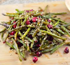 roasted green beans fresh cranberries sprinkled with dukkah