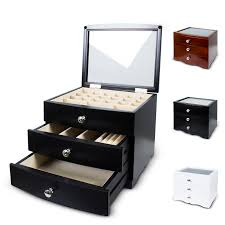 necklace jewellery boxes images 3 layers wooden jewellery box organiser storage display case gift jpg