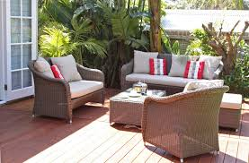 Outdoor Furniture Set Patio Furniture Cushions With Wooden Pattern Floor And Wicker
