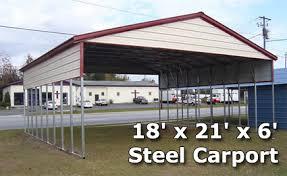 Steel Car Port 18 U0027 X 21 U0027 X 6 U0027 Steel Carport Garage Storage Building W Boxed