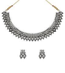 antique necklace silver images Buy zaveri pearls silver antique choker necklace for women silver jpg