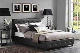 Full Platform Bed With Headboard Amazon Com Dhp Dakota Platform Bed With Tufted Upholstery In Faux
