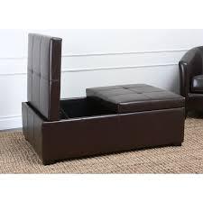 abbyson frankfurt dark brown leather double flip top storage
