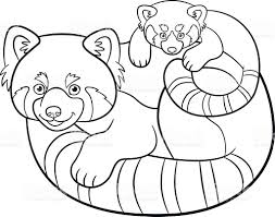 mother coloring pages coloring pages mother red panda with her baby stock vector art