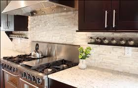 glass tile backsplash brown oak wood kitchen cabinet wall mounted