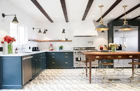 Kitchen Cabinets With Pulls Navy Blue Kitchen Cabinets With Vintage Brass Pulls Contemporary