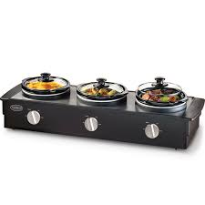 triple slow cooker food warmer 3 station buffet server serving