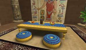 second life marketplace egyptian gold dining table