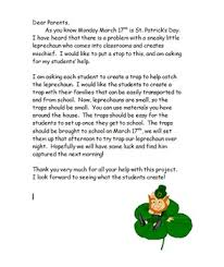 st patrick u0027s day leprechaun trap parent letter by angie koser tpt