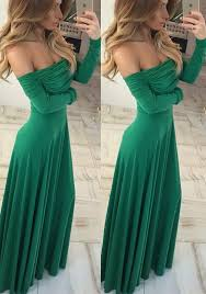 green draped boat neck long sleeve off shoulder abendkleid party