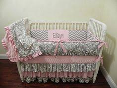 Pink And Gray Crib Bedding Crib Bedding Baby Bedding Set Pink Gray Damask Made To