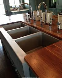 bead blasted commercial ss sink in a residential kitchen