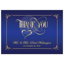 5x7 photo thank you card royal blue gold ornate scrolls