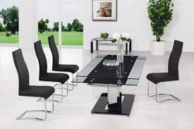 Rectangle Glass Dining Table Dining Room Set With White Leather Chairs And Glass Table Top