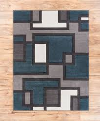 Geometric Area Rug Uptown Squares Blue Grey Modern Geometric Comfy Casual