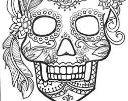 fancy skull coloring pages adults printable halloween coloring